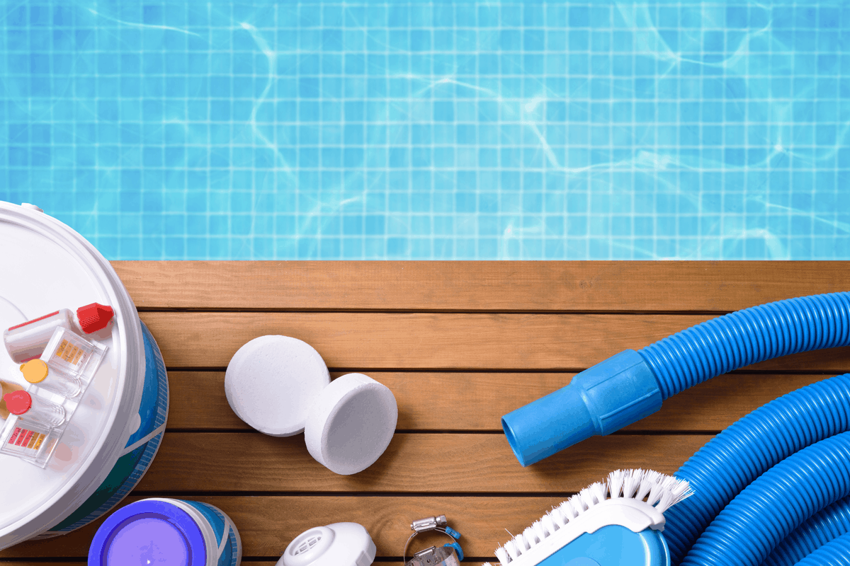 Pool cleaning supplies.