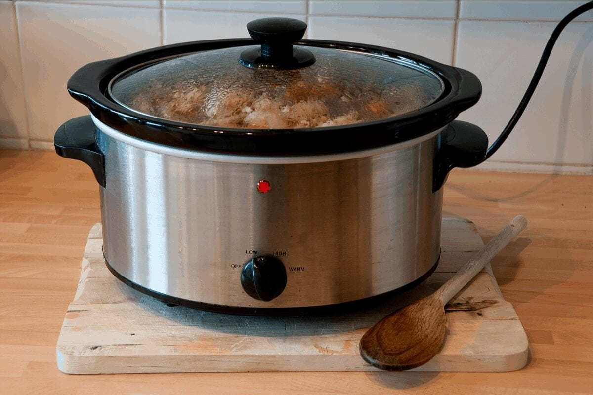 Instant pot filled with food.